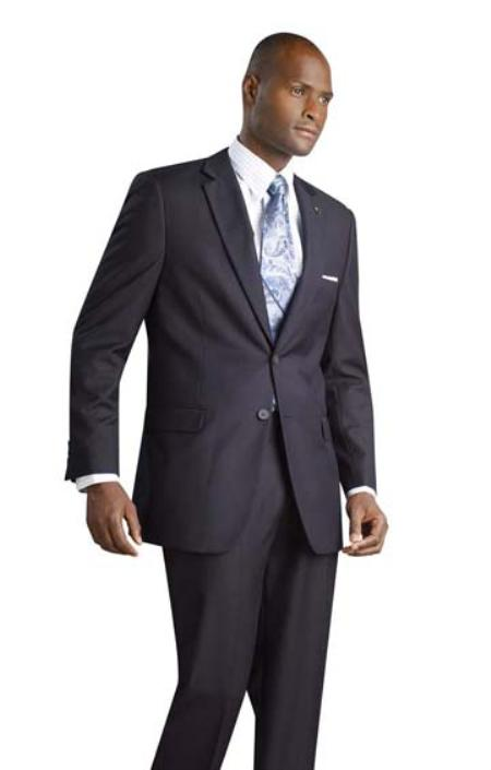 IX3111 2 Button Style Shiny Flashy Metalic Silk Touch Midnight Navy Suit